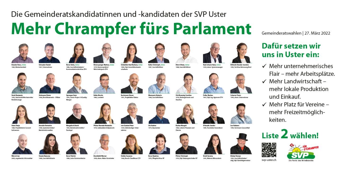 Die 36 Kandidaten der SVP Uster für den Gemeinderat.